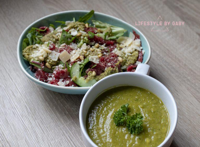 #19. Frisse carpaccio salade met daarbij gezonde broccolisoep