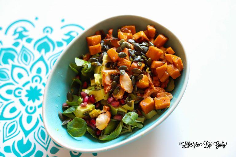 #42. Gezonde salade met zoete aardappel en kip